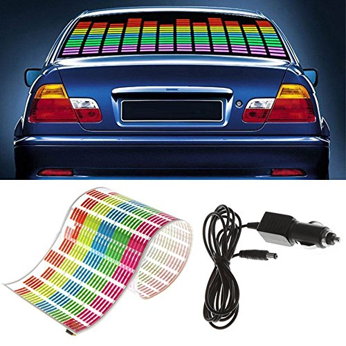WONFAST Sound Music Beat Activated Car Sticker Equalizer Rhythm LED Flash Light Audio Voice Rhythm Lamp (90x25cm)