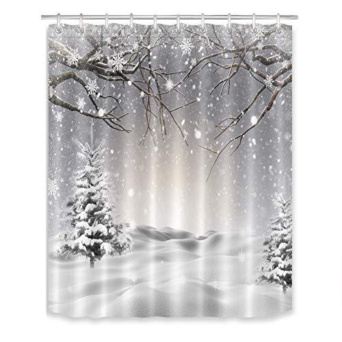 LB Duschvorhang mit Schneeflocken-Szene, mit Kiefernbaum-Überzug, Schneebaum-Zweig, Badezimmer-Vorhang mit Haken, 144,8 x 182,9 cm, wasserdichtes Polyestergewebe