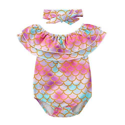 POINEG Romper + Hairband Set Swimwear for Newborn Baby Short Sleeve Mermaid Swimsuit Bodysuit Jumpsuit Infant Summer Outfits Clothes Playsuits, 0-24 Months