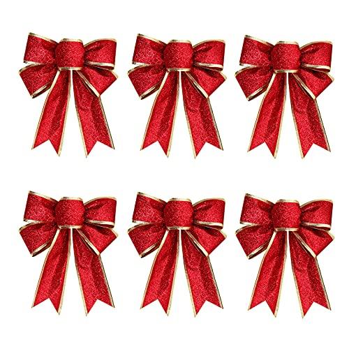 6Pcs Arcos Decoración Rojo y Dorado Roja Lazos de Navidad con Purpurina Lazos Decorativos de Navidad Copos de árbol de Navidad Bowknot Adornos de Nudos de Cintas (Oro y Rojo)
