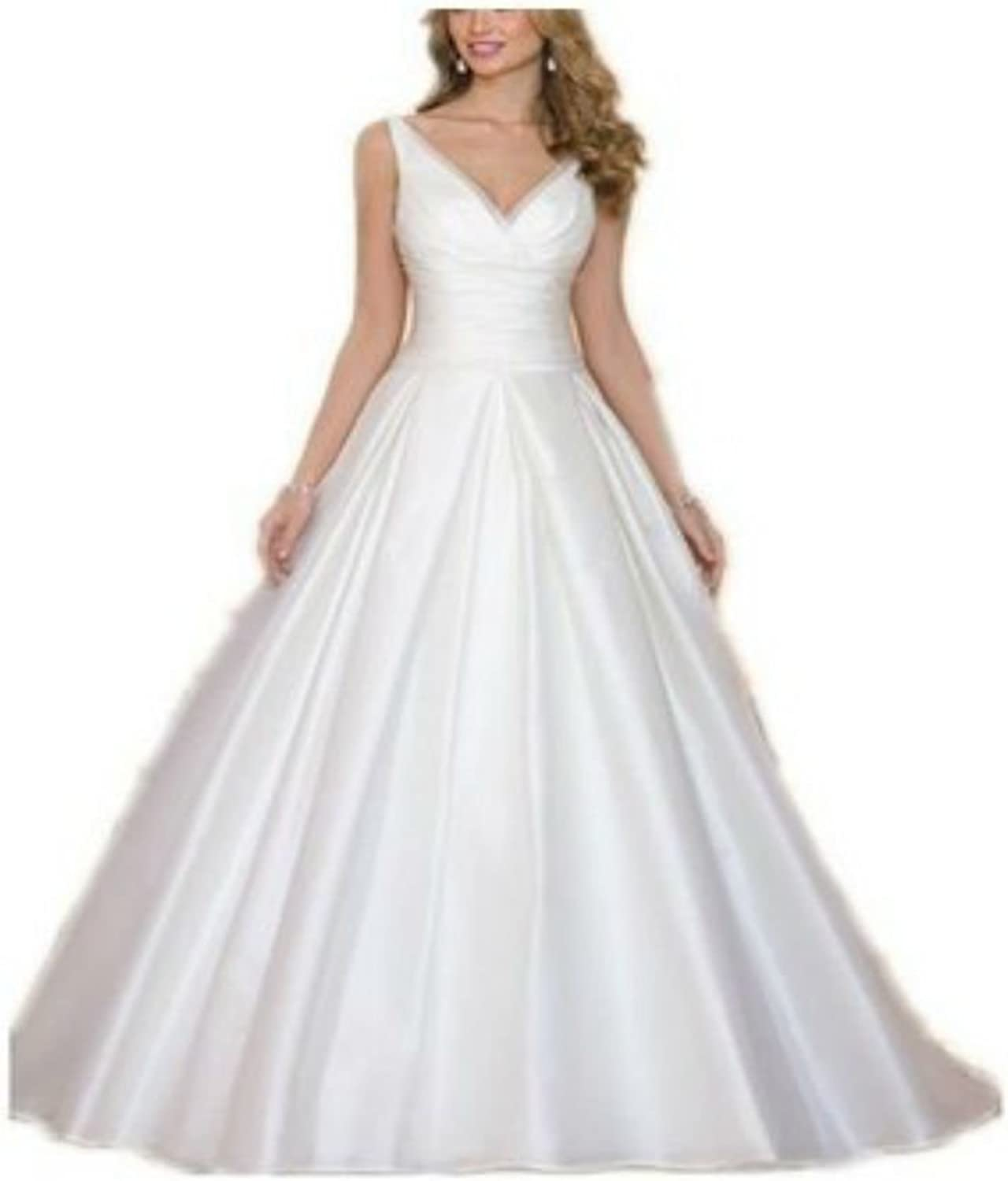 Yilian VNeck Aline Organza Wedding Dress Bride Gown Dress