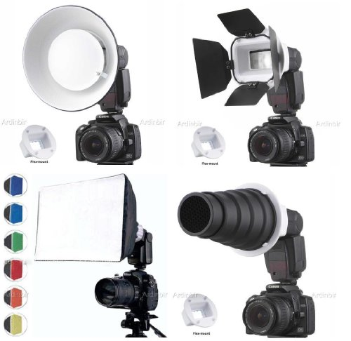 Flash Gun Strobies Flex Mount Modifier, Adapter Kit with Softbox, Diffuser, Beauty Dish Reflector, Snoot, Honeycomb, Barndoor for Sony F32X, HVL-F42AM; Canon 420ex; 430ex; 430EX II, 540ez; Vivitar DF400MZ; Sunpak 5000AF, 4000AF, PZ5000, DF200, 888F2, Leica SF58, Jessops 360AFD