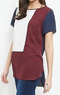 KLJR Women's Chiffon Irregular Plus Size Short Sleeve Color Block Top Blouse T-Shirt