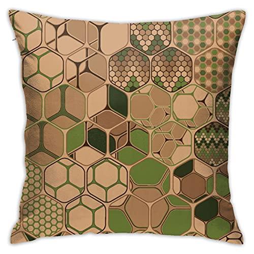 Hexagons Trio - Funda de almohada vertical de 45,7 x 45,7 cm, algodón, lino, poliéster, decoración para el hogar, sofá, silla de escritorio, dormitorio, 45,7 x 45,7 cm