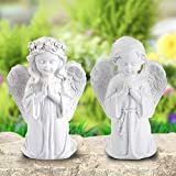 Giftchy Praying Angel Statue Set of 2, Adorable Boy and Girl Angel Figurine for Home & Garden Decorations, Memorial Resin Angel Sculpture for Outdoor and Indoor Decor & Wedding Gifts (6' H)