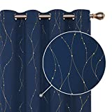 Deconovo Printed Blackout Curtains Set of 2 Golden Wave Line with Dots Light Blocking Curtains for Living Room 52 x 63 Inch Navy Blue 2 Drapes