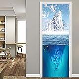 Pegatinas puerta tridimensionales 3d Papel Pintado Iceberg del Fondo Marino Azules y Blancos Murales Temáticos Carteles Autoadhesivos PVC Impermeable para Decoración Renovación Oficina Casa 77x200cm
