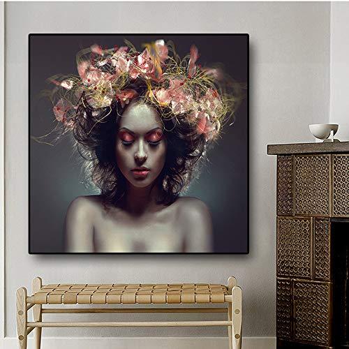 tzxdbh Nordic Style Beauty Bloem Meisje Canvas Schilderen Scandinavische Postmoderne Posters en Prints Muurpop Kunstfoto voor Woonkamer 50x50 cm No frame Pa598