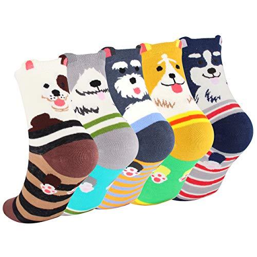 DarkCom 5 Paar Hund Süße Damen Socken, Weiche Atmungsaktive Baumwolle Mädchen Socken (Mehrfarbig-Hund)