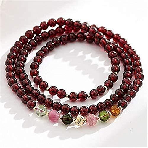 Pulsera de cristal de granate natural Collar de piedras preciosas múltiples Pulsera de piedras preciosas de tres capas con perlas de turmalina Curación Crystal Lucky Charms Atraer el buen regalo de di