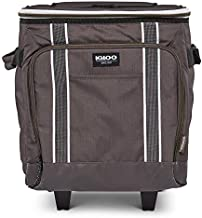Igloo 40 Can Large Portable Lunchbox Soft Sided Insulated Cooler Box with Wheels and Height Adjustable Pull Bar for Hiking, Camping, Fishing, and Picnics, Olive