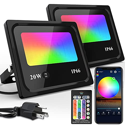 LED Flood Lights RGB Color Changing 100W Equivalent Outdoor, 20W Bluetooth Smart Floodlights RGB APP Control, 2700K & 16 Million Colors, Timing, Music Sync, IP66 Waterproof for Garden Stage(2 Pack)