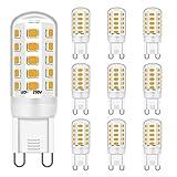 LED G9 Ligero Bombillas 3W Equivalente a 28W 33W 40W Halógeno Bombillas, Suave Blanco cálido 2700K, CRI 85, G9 Enchufe Ahorro de energía, sin parpadeo, no regulable, CA 220-240V, paquete de 10