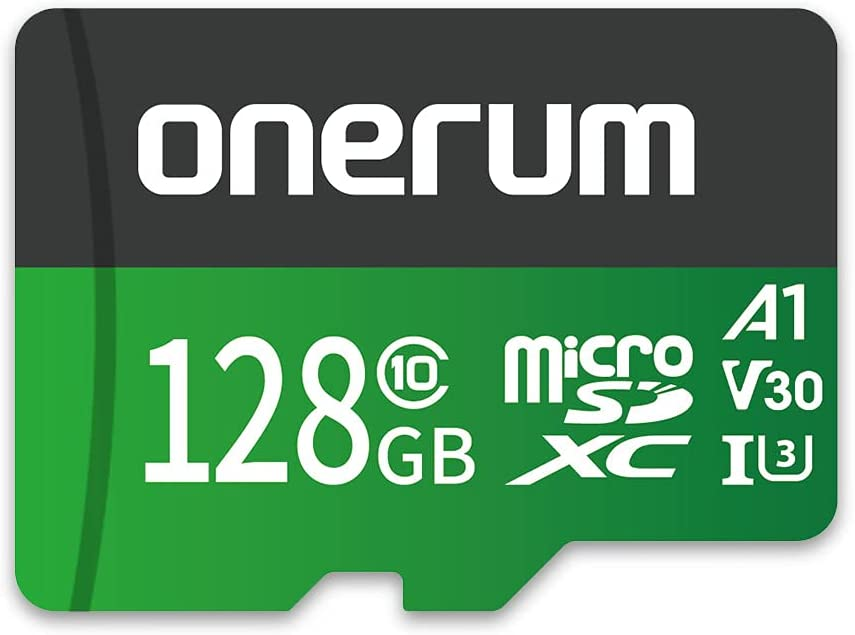 Onerum Micro SD Card Up to 100/30MB/s(R/W), 128G MicroSDXC Memory Card + SD Adapter with A1, C10, U3, V30, 4K Video Recording, TF Card for Camera, Smartphone, Switch, Drone, Dash Cam, Gopro, DSLRs