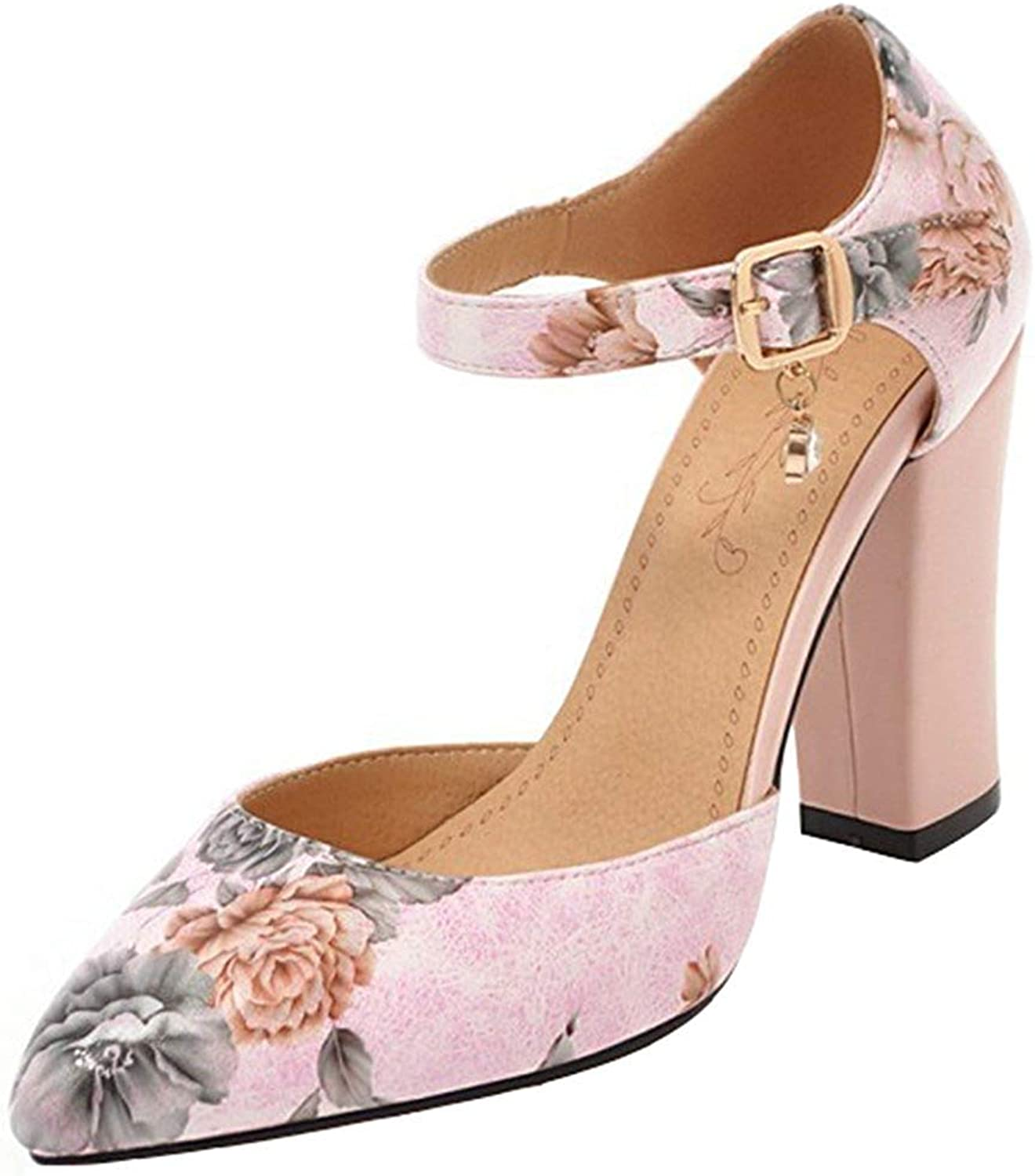 Ghssheh Women's Fashion Floral Print Buckle Ankle Strap Pointed Toe Block High Heels Sandals White 4 M US