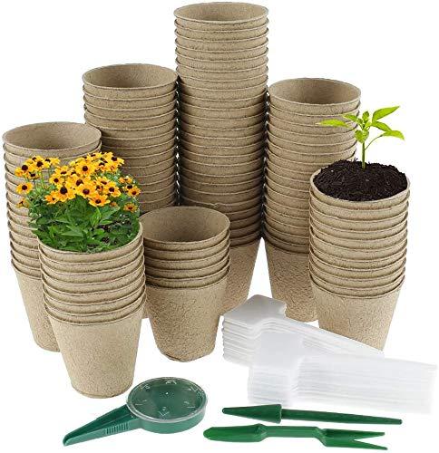 100 PCS Macetas de Semillas Degradables Biodegradable de 8,5 cm para Plantasde de Semillero con 50 Etiquetas 1 Sembradora 1 Elevador de Plántulas para Plantas/Macetas/Celulosa