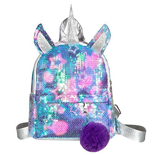 WolinTek Kinderrucksack, Einhorn Pailletten Tasche, Kinderrucksäcke,Mädchen Schulrucksack Umhängetasche,Einhorn Rucksack Mädchen Mode Pailletten,Schultaschen-Rucksack,für für Schule /Reise