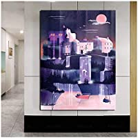 Rzhss ウォールアート家の装飾城のキャンバスプリントナイトビュー絵画写真ワンダーランドポスター家の装飾のためのモダンなリビングルームの絵画キャンバスに印刷-60X90Cmフレームなし