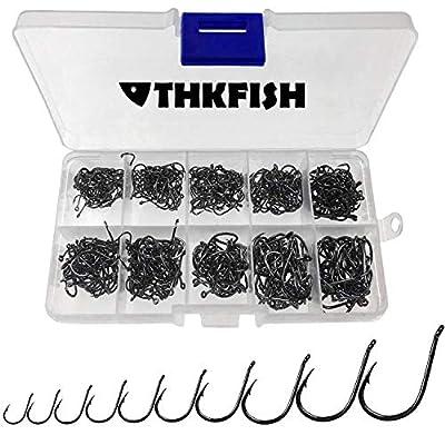 THKFISH Fishing Hooks Freshwater High Carbon Steel Fishing Hooks with Plastic Box Fishing Hooks Eyed Hooks 10Sizes 500Pcs