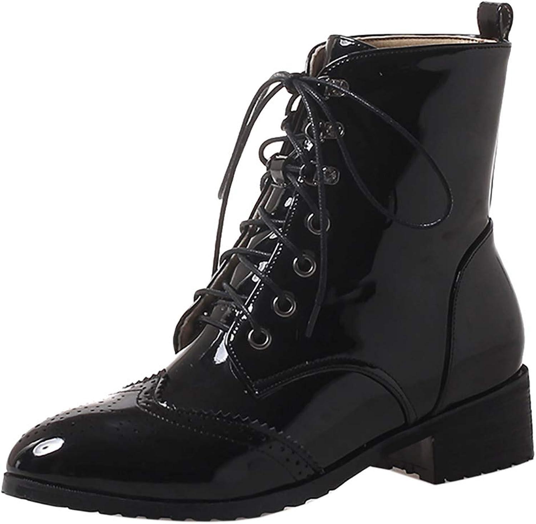 AicciAizzi Women Fashion Brogue Boots Lace Up