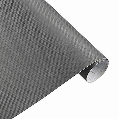 3D Sticker auto Accessori auto in fibra di carbonio vinile avvolgere Film foglio Rullo Car Decal Film Car Styling for auto Accessori for moto (Color Name : Grey)