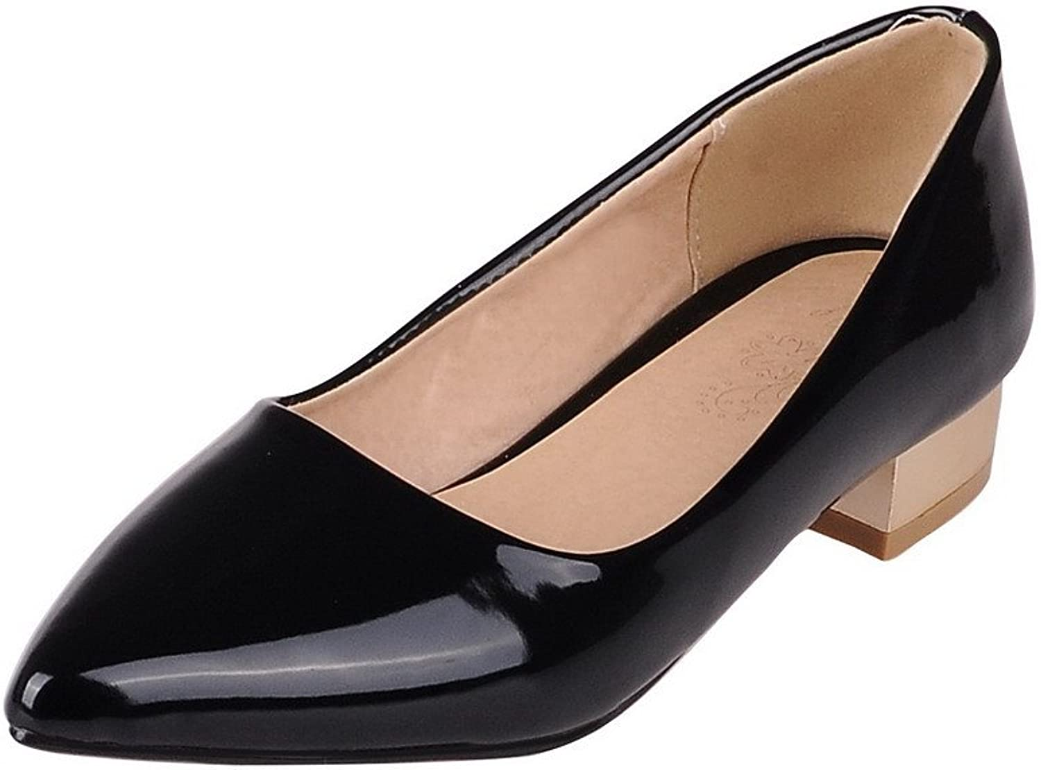 AmoonyFashion Women's Pull On Low Heels Patent Leather Solid Pointed Closed Toe Pumps-shoes