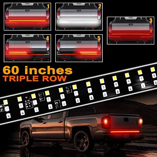 60 Inches Truck Tailgate Light Bar, LINKSTYLE Triple 504 LED Light Strip Running Turn Signal Brake Reverse Tail Lights for Pickup Trailer SUV RV VAN Jeep Car