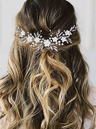 Vakkery - Diadema para novia, diseño de flores, color...