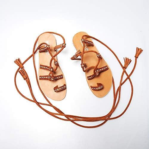 Shukun Sandales Bohême National Fée Vent Plage Femmes Croix Bretelles Fond Plat Rome Chaussures Sandales De Vacances Chaussures Femmes