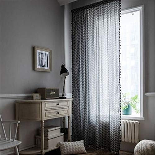MMHJS European Style Cotton And Linen Tassel Curtains, Dandelion Printing Semi-Shading Bay Window, Living Room And Bedroom Floor-To-Ceiling Curtains, Suitable For All Seasons