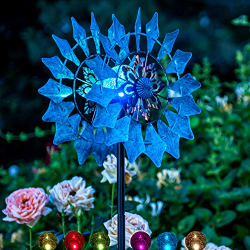 Solar Wind Spinner New Azure 75in Multi-Color Seasonal LED Lighting Solar Powered Glass Ball with Kinetic Wind Spinner Dual Direction for Patio Lawn & Garden