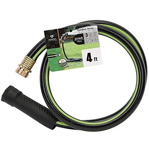 Worth Garden 4ft Hose 3/4' x4' Water Hose - Durable Non Kinking Garden Hose - PVC Material with Brass Hose Fittings - Flexible Hose for Household and Professional Use - 12-Year Manufacturer Warranty