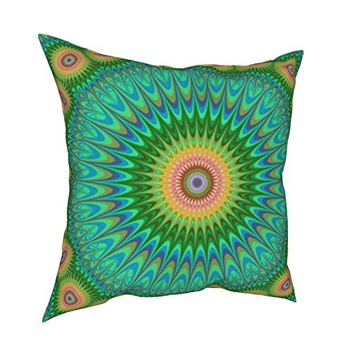 Hippie Mandala - Fundas de almohada decorativas, fundas de almohada personalizadas, fundas de cojín para sofá, dormitorio, coche, accesorios para el hogar de 50 x 50 cm