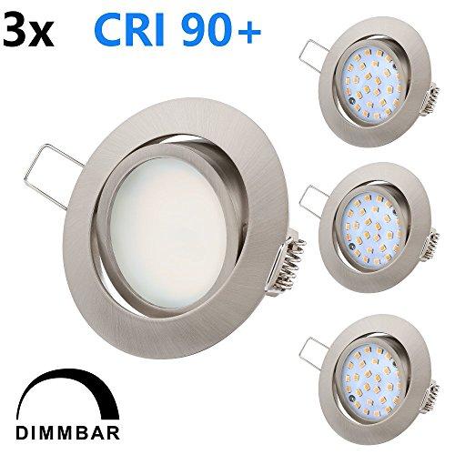 TEVEA Ultra Flach Dimmbar LED Einbaustrahler - Ra>90 natürliche Farben - 5.5W 230V - Tolles Design - Einbauspots - Einbauleuchten (Edelstahl Optik - Warmweiss)
