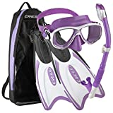 Cressi Palau Long Mask Fin Snorkel Set, Brisbane Lilac, Medium/Large