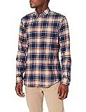 Marca Amazon - MERAKI Camisa Hombre, Multicolor (Blue/orange), S, Label: S