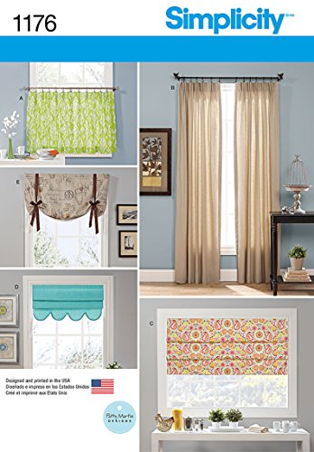 Simplicity US1176OS Café Curtains and Full Length Curtains Sewing Pattern, One Size Only