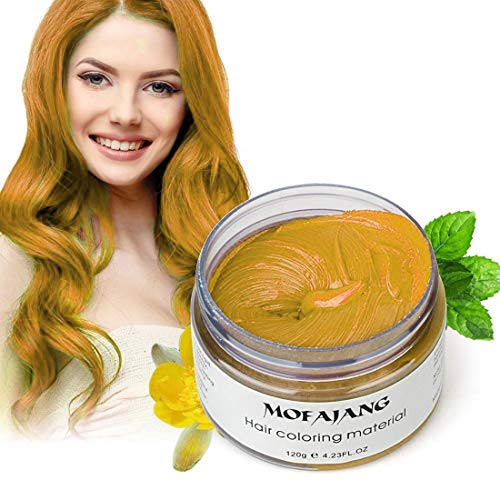 Mofajang Hair Wax Dye Styling Cream Mud, Natural Hairstyle Color Pomade, Washable Temporary, Gold