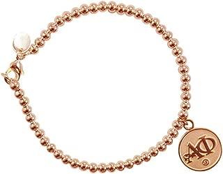 Navika Alpha Phi Sorority Rose Gold Charm on 4mm Ball Bead Bracelet