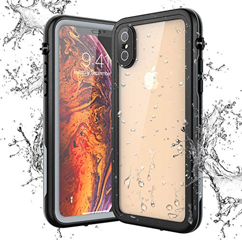 Yokata Hülle für iPhone X/XS, IP68 wasserdichte Hülle Transparent 360 Grad Stoßfest mit Eingebautem Displayschutz Staubdicht Handyhülle Schutzhülle Unterwasser Outdoor für iPhone X/XS (5,8 Zoll)