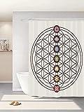 Abaysto Blume des Lebens Heilige Geometrie Themen verschiedene Formen Dreiecke Kreise Quadrate Chakra Zen mehrfarbig Badezimmer Dekor Duschvorhang-Sets mit Haken Polyestergewebe Tolles Geschenk