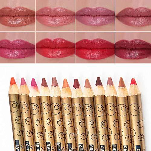 Aotoer 12 Farben Professionelles Lipliner Set Makeup Lippenstift Wasserdichtes schweißfestes mattes Lip Liner Bleistiftset für Damen Lady Girls
