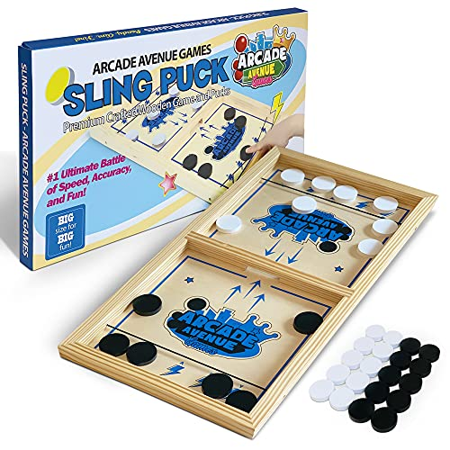 Fast Sling Puck Game Large Size - Wooden Hockey Board Game for Fun Party or Game Night - Ultimate Action-Packed Battle of Speed and Accuracy - Arcade Avenue