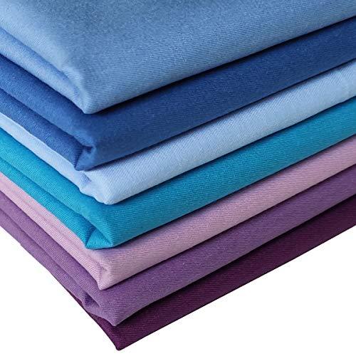 N A 7 Stück Baumwollstoff 100% Baumwolle Nähstoffe Patchwork DIY Stoffpaket Zugeschnittene Stoff Quadrate zum Nähen Handwerk Deko 46x56cm Reine Farben (Blau Herbst)