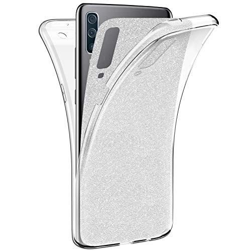 Surakey Cover Compatibile con Samsung Galaxy A50 Custodia Silicone Trasparente 360 Gradi Full Body Glitter Case Fronte Retro Protezione Moda Ultra Slim Cover per Samsung Galaxy A50,Argento