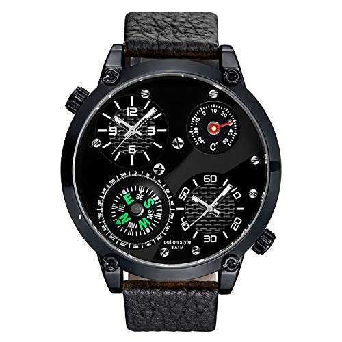 WJLED Reloj Multifuncional para Hombres, Reloj de Doble Zona horaria con Esfera Grande, Material Impermeable, con termómetro y brújula, Adecuado para Uso en Exteriores,B