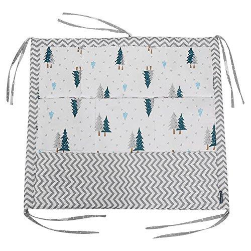 Bolsa de almacenamiento colgante para cuna con 9 bolsillos Cuna de bebé Organizador de pañales de juguete 60 * 50 cm(Árbol verde)