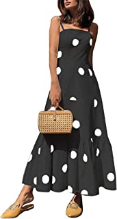 Leomodo Women Sexy Halter Tube Top Polka Dot Strap A Line Dress