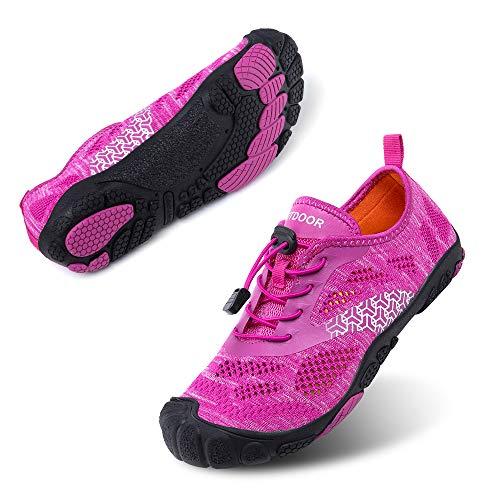 Zapatillas Minimalista Hombre Mujer de Trail Running Escarpines Zapatos de Agua Secado Rápido Deportes Antideslizante Unisexo Púrpura A Reino Unido 38