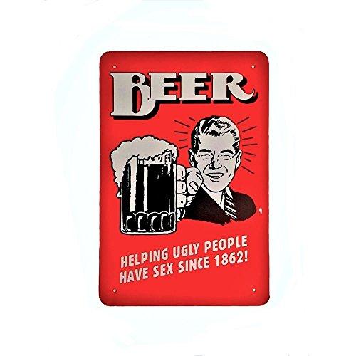 DiiliHiiri Cartel de Chapa Vintage Decoración, Letrero A4 Estilo Antiguo de metálico Retro (Beer and Sex)
